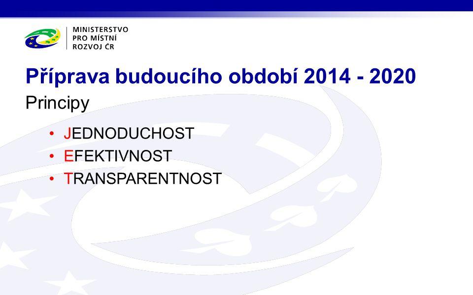 Principy JEDNODUCHOST EFEKTIVNOST TRANSPARENTNOST Příprava budoucího období 2014 - 2020