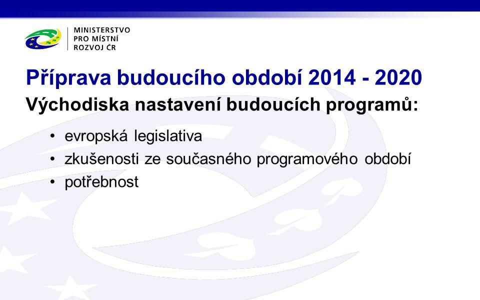 Východiska nastavení budoucích programů: evropská legislativa zkušenosti ze současného programového období potřebnost Příprava budoucího období 2014 - 2020