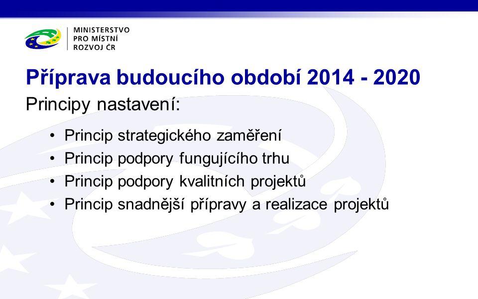 Principy nastavení: Princip strategického zaměření Princip podpory fungujícího trhu Princip podpory kvalitních projektů Princip snadnější přípravy a realizace projektů Příprava budoucího období 2014 - 2020