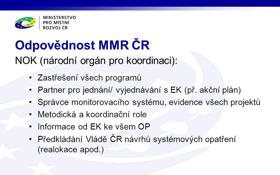 NOK (národní orgán pro koordinaci): Zastřešení všech programů Partner pro jednání/ vyjednávání s EK (př.