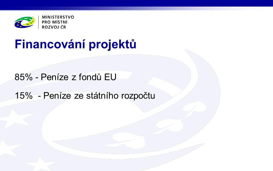 85% - Peníze z fondů EU 15% - Peníze ze státního rozpočtu Financování projektů