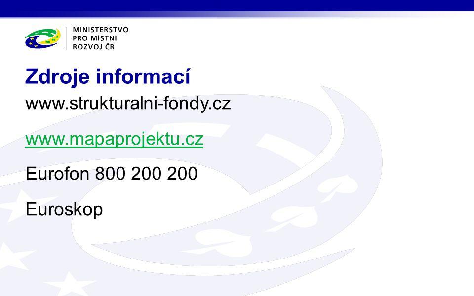 www.strukturalni-fondy.cz www.mapaprojektu.cz Eurofon 800 200 200 Euroskop Zdroje informací