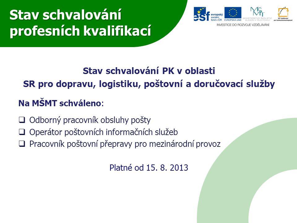 Stav schvalování profesních kvalifikací Stav schvalování PK v oblasti SR pro dopravu, logistiku, poštovní a doručovací služby Na MŠMT schváleno:  Odb