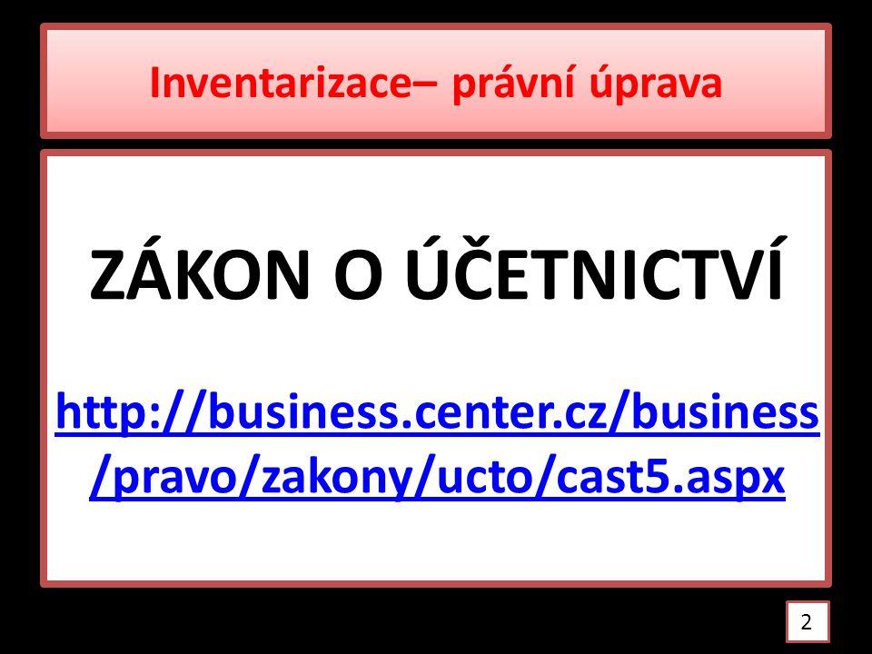 INVENTURA x INVENTARIZACE Inventura = zjištění skutečného stavu, jeho ocenění a písemné zaznamenání (inventurní soupis) Inventarizace = širší pojem inventura porovnání skutečného a účetního stavu zjištění inventarizačních rozdílů vypořádání inventarizačních rozdílů http://cs.wikipedia.org/wiki/Inventura 3