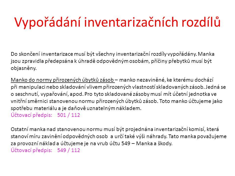 Vypořádání inventarizačních rozdílů Do skončení inventarizace musí být všechny inventarizační rozdíly vypořádány. Manka jsou zpravidla předepsána k úh