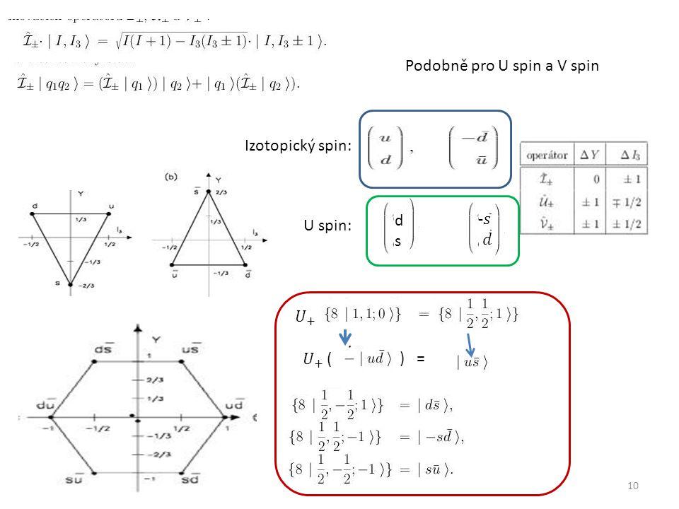 10 Podobně pro U spin a V spin Izotopický spin: U spin: dsds ) =