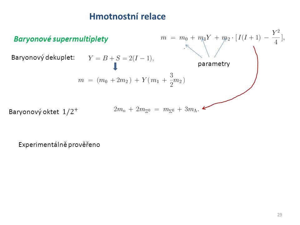 29 Hmotnostní relace Baryonové supermultiplety Baryonový dekuplet: parametry Experimentálně prověřeno