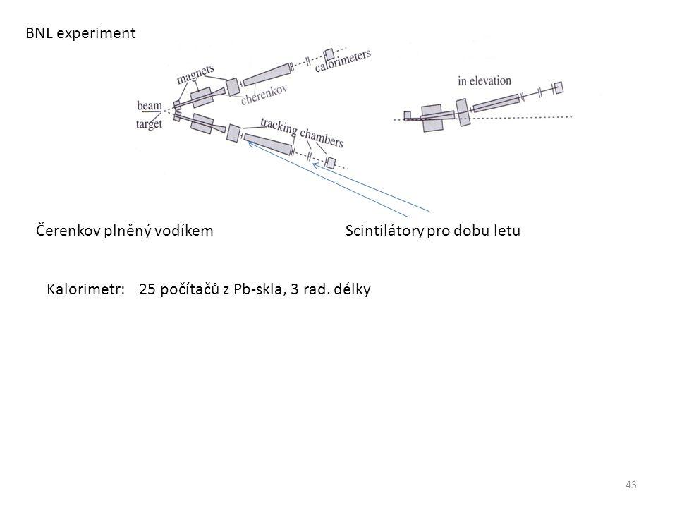 43 BNL experiment Čerenkov plněný vodíkemScintilátory pro dobu letu Kalorimetr: 25 počítačů z Pb-skla, 3 rad.