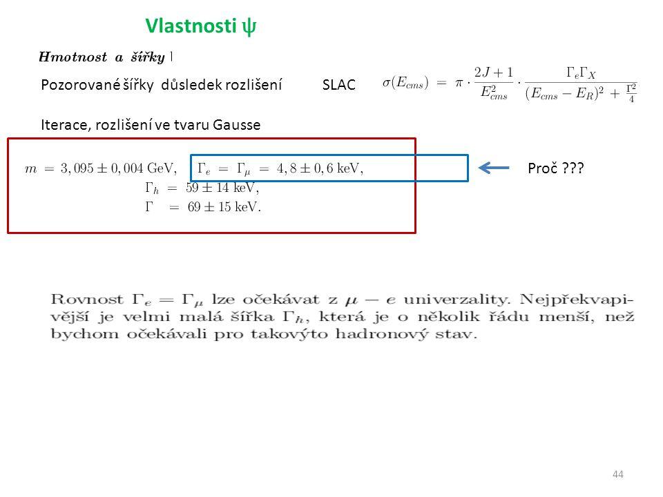 44 Vlastnosti ψ Pozorované šířky důsledek rozlišení Iterace, rozlišení ve tvaru Gausse SLAC Proč