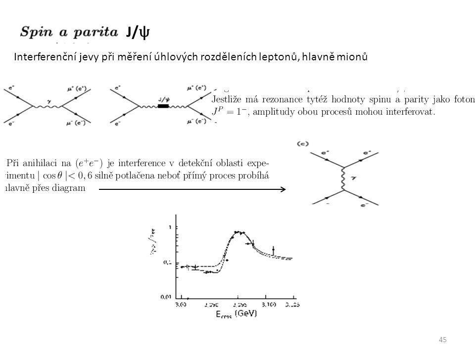 45 J/ ψ Interferenční jevy při měření úhlových rozděleních leptonů, hlavně mionů