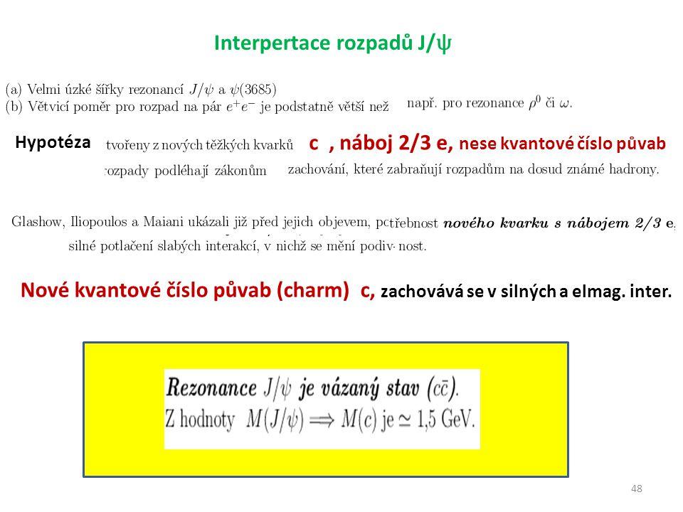 48 Interpertace rozpadů J/ ψ Hypotéza c, náboj 2/3 e, nese kvantové číslo půvab Nové kvantové číslo půvab (charm) c, zachovává se v silných a elmag.