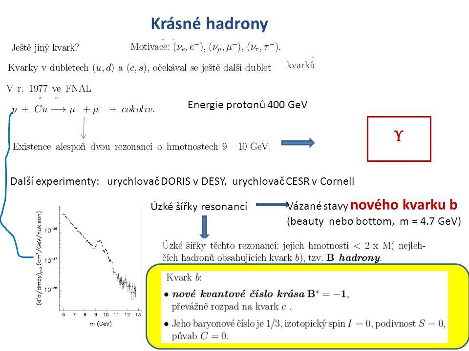 57 Krásné hadrony Energie protonů 400 GeV Υ Další experimenty: urychlovač DORIS v DESY, urychlovač CESR v Cornell Úzké šířky resonancí Vázané stavy nového kvarku b (beauty nebo bottom, m ≈ 4.7 GeV)