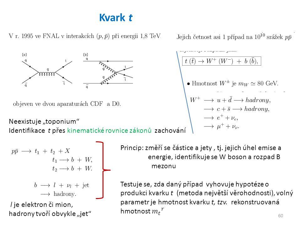 """60 Kvark t Neexistuje """"toponium Identifikace t přes kinematické rovnice zákonů zachování l je elektron či mion, hadrony tvoří obvykle """"jet"""
