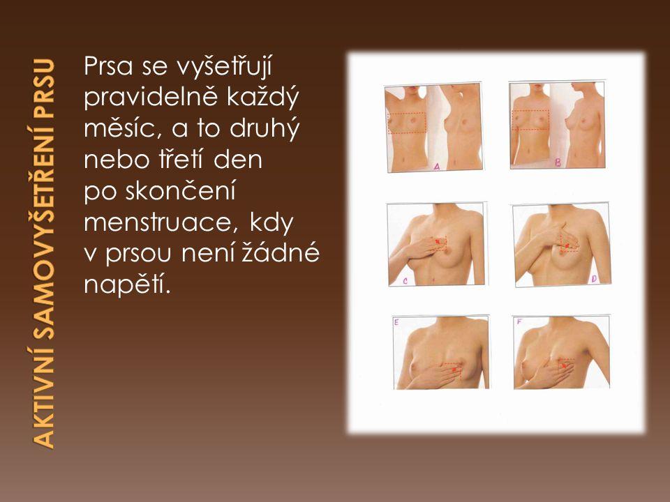 Prsa se vyšetřují pravidelně každý měsíc, a to druhý nebo třetí den po skončení menstruace, kdy v prsou není žádné napětí.