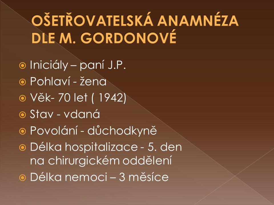 Iniciály – paní J.P.  Pohlaví - žena  Věk- 70 let ( 1942)  Stav - vdaná  Povolání - důchodkyně  Délka hospitalizace - 5. den na chirurgickém od