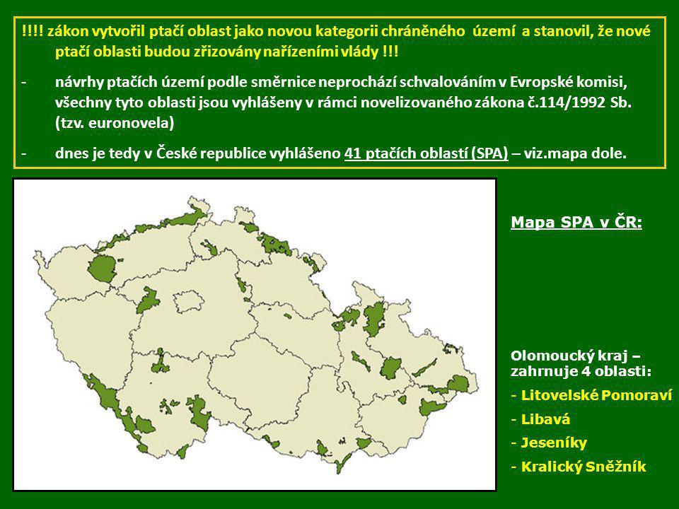 !!!! zákon vytvořil ptačí oblast jako novou kategorii chráněného území a stanovil, že nové ptačí oblasti budou zřizovány nařízeními vlády !!! -návrhy