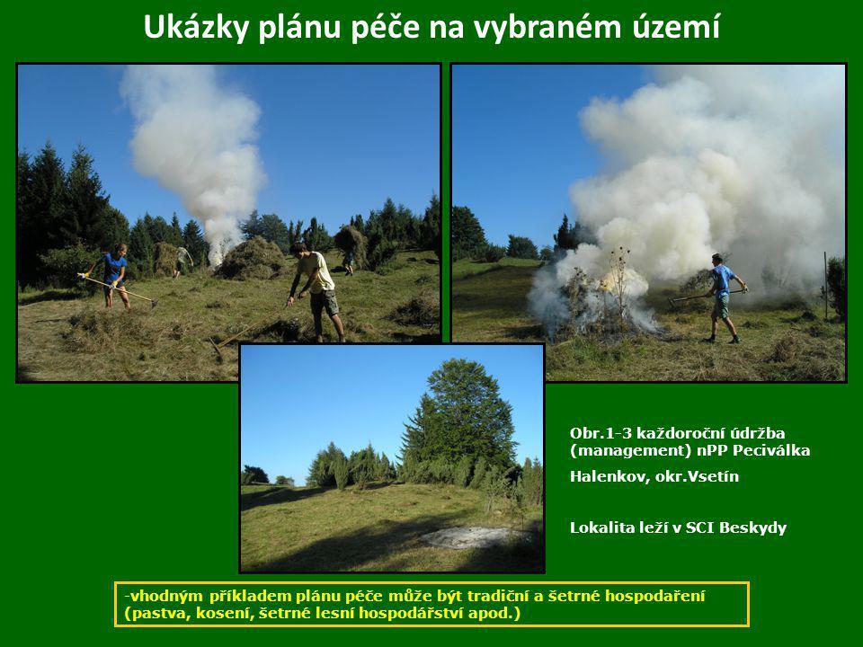 Ukázky plánu péče na vybraném území -vhodným příkladem plánu péče může být tradiční a šetrné hospodaření (pastva, kosení, šetrné lesní hospodářství ap