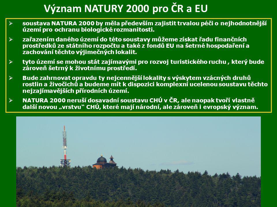 Význam NATURY 2000 pro ČR a EU  soustava NATURA 2000 by měla především zajistit trvalou péči o nejhodnotnější území pro ochranu biologické rozmanitos
