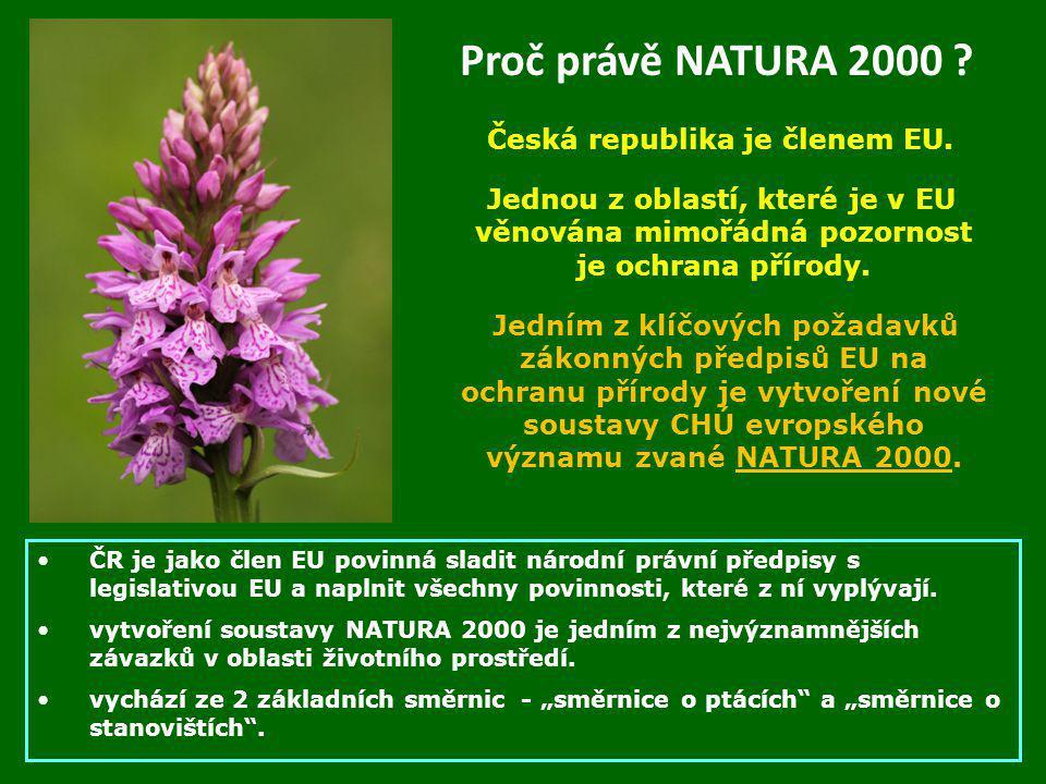 Proč právě NATURA 2000 ? Česká republika je členem EU. Jednou z oblastí, které je v EU věnována mimořádná pozornost je ochrana přírody. Jedním z klíčo