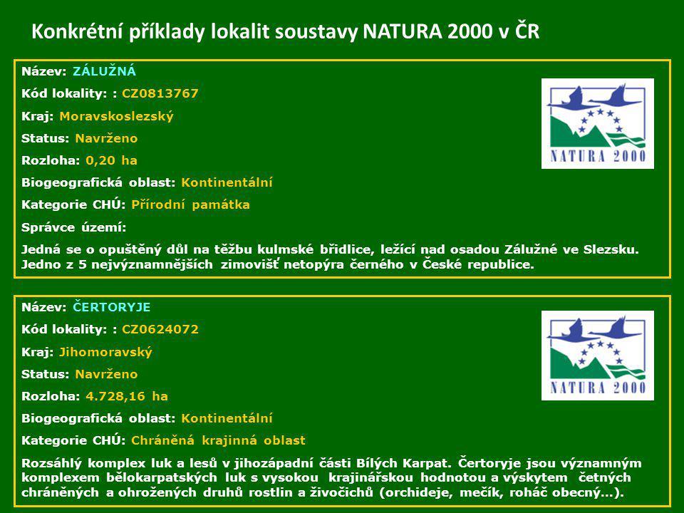 Konkrétní příklady lokalit soustavy NATURA 2000 v ČR Název: ZÁLUŽNÁ Kód lokality: : CZ0813767 Kraj: Moravskoslezský Status: Navrženo Rozloha: 0,20 ha