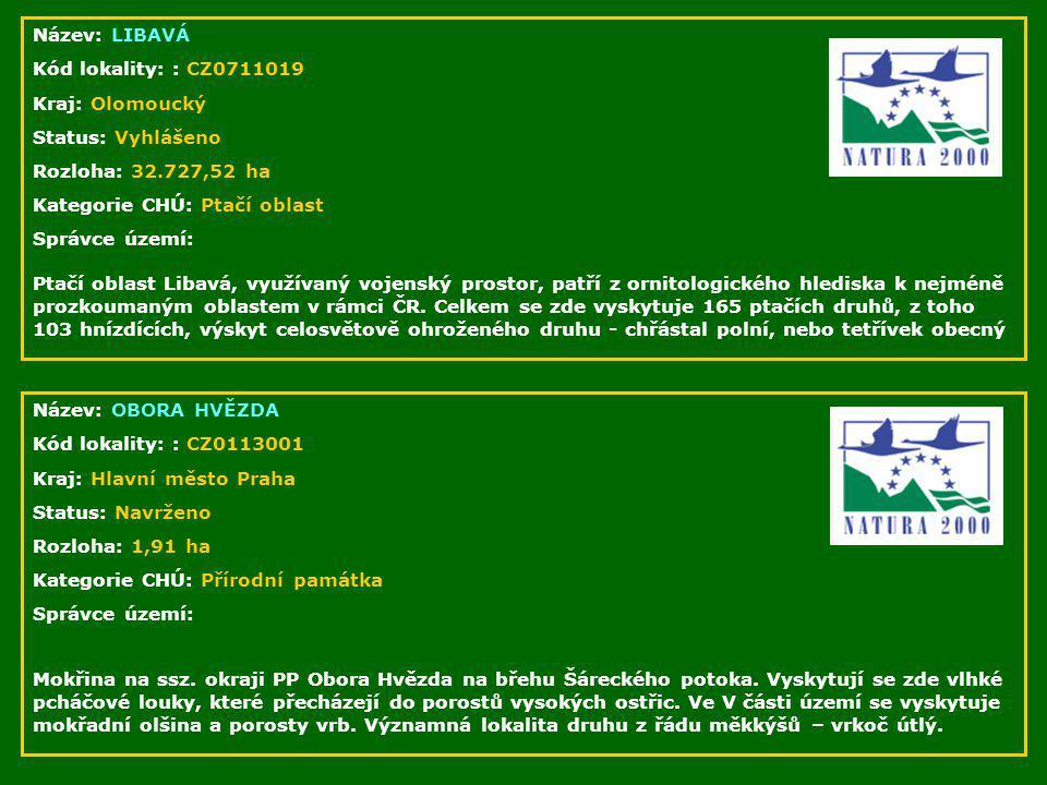 Název: LIBAVÁ Kód lokality: : CZ0711019 Kraj: Olomoucký Status: Vyhlášeno Rozloha: 32.727,52 ha Kategorie CHÚ: Ptačí oblast Správce území: Ptačí oblas