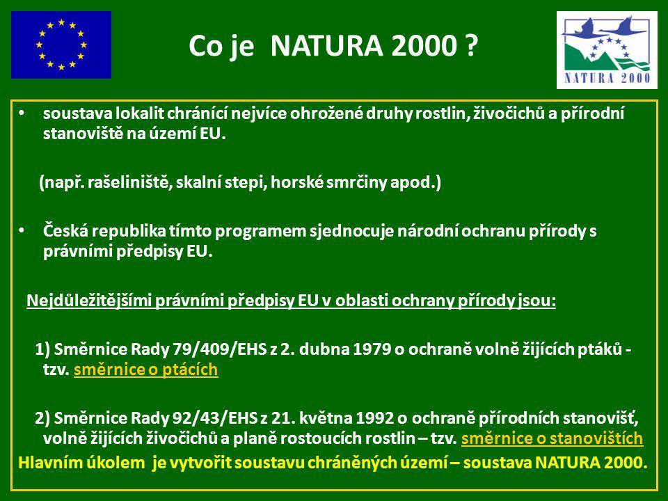 Co je NATURA 2000 ? soustava lokalit chránící nejvíce ohrožené druhy rostlin, živočichů a přírodní stanoviště na území EU. (např. rašeliniště, skalní