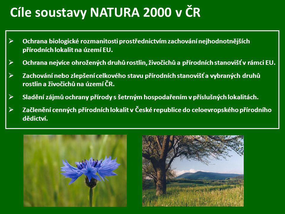 Cíle soustavy NATURA 2000 v ČR  Ochrana biologické rozmanitosti prostřednictvím zachování nejhodnotnějších přírodních lokalit na území EU.  Ochrana