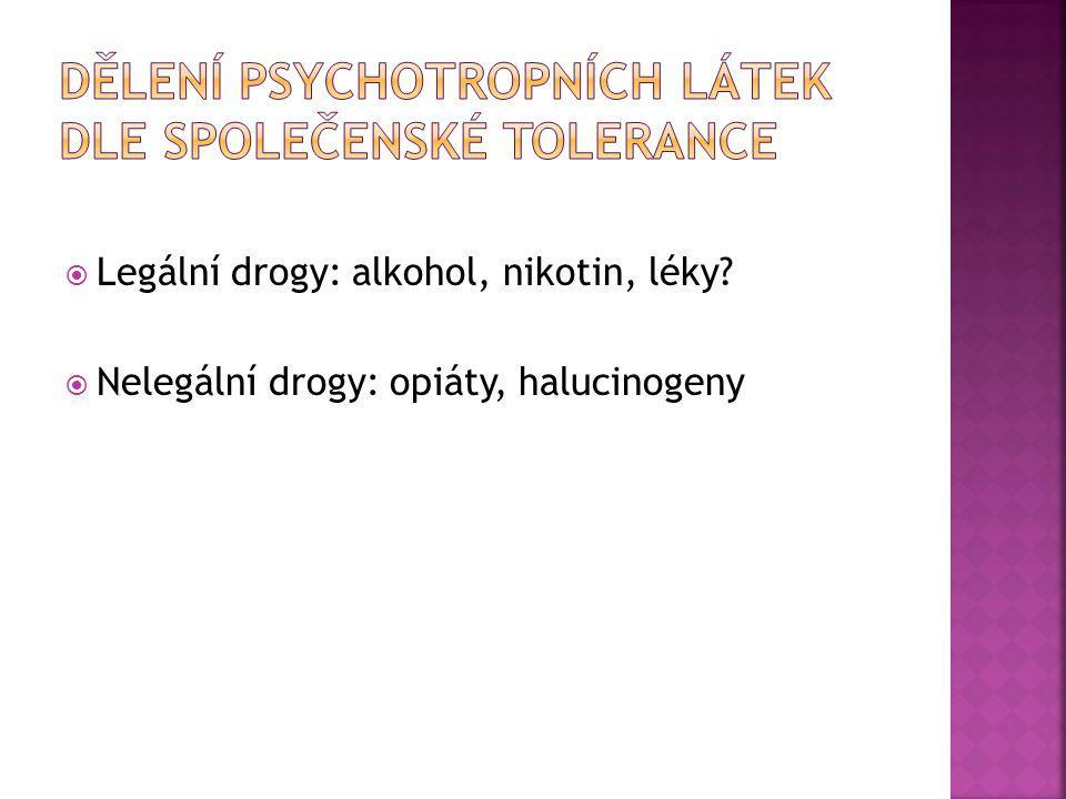  Legální drogy: alkohol, nikotin, léky?  Nelegální drogy: opiáty, halucinogeny
