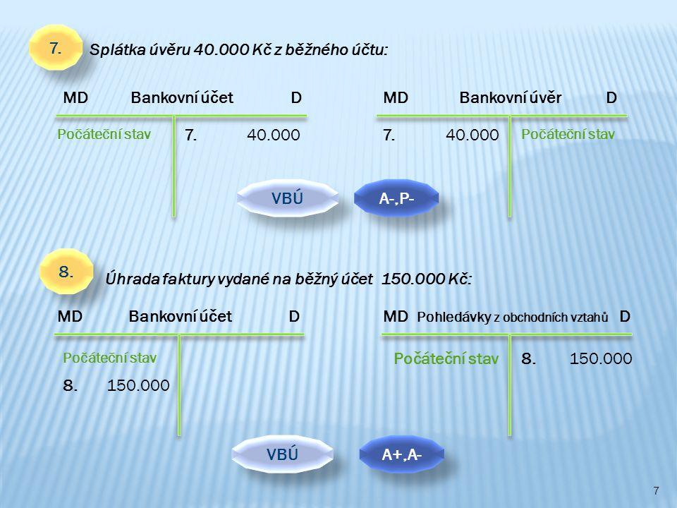 7 MD Bankovní účet D Počáteční stav MD Pohledávky z obchodních vztahů D Počáteční stav 8.