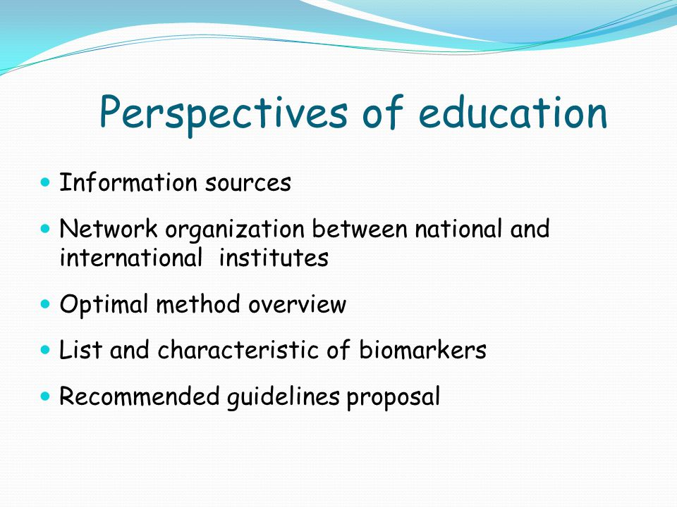 Education qualification National educational program – at least 1 faculty per one state Links between research and education Specialization of faculties in individual states Lectures and books exchange between the states Uniform web site for education at www.epma.netwww.epma.net Links between universities - pharmaceutical companies – health care insurance companies