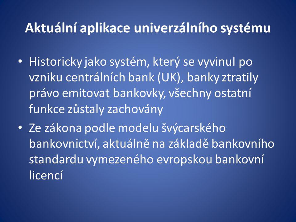 Aktuální aplikace univerzálního systému Historicky jako systém, který se vyvinul po vzniku centrálních bank (UK), banky ztratily právo emitovat bankov