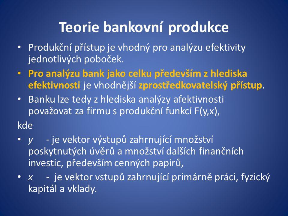 Teorie efektivnosti bankovní produkce Za cíl banky lze považovat minimalizaci nákladů, přitom banky jsou pokládány za příjemce ceny, a to jak co se týče vstupů, tak výstupu.