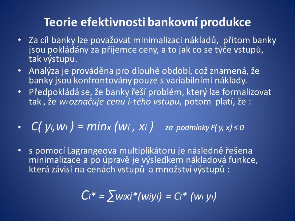 Teorie efektivnosti bankovní produkce Za cíl banky lze považovat minimalizaci nákladů, přitom banky jsou pokládány za příjemce ceny, a to jak co se tý