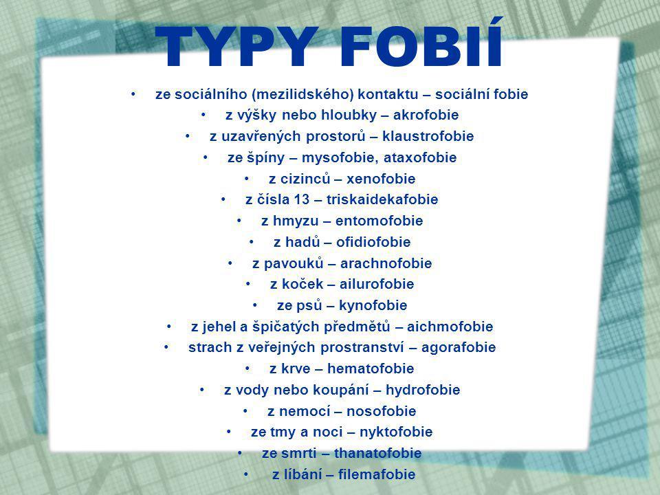 TYPY FOBIÍ ze sociálního (mezilidského) kontaktu – sociální fobie z výšky nebo hloubky – akrofobie z uzavřených prostorů – klaustrofobie ze špíny – my