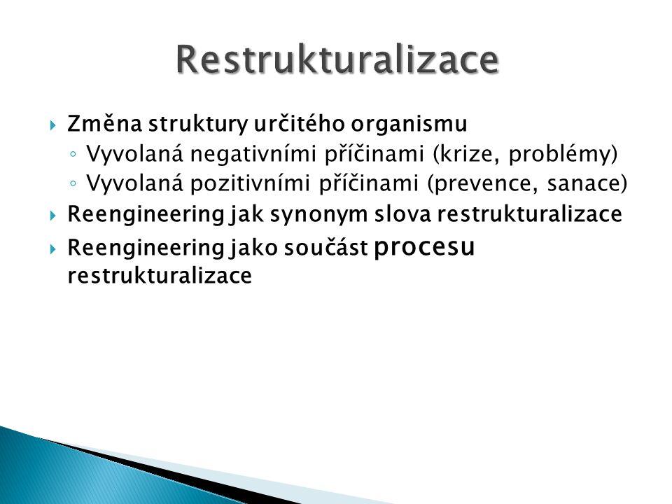  Změna struktury určitého organismu ◦ Vyvolaná negativními příčinami (krize, problémy) ◦ Vyvolaná pozitivními příčinami (prevence, sanace)  Reengineering jak synonym slova restrukturalizace  Reengineering jako součást procesu restrukturalizace