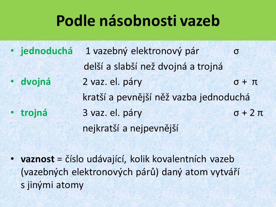 Podle násobnosti vazeb jednoduchá 1 vazebný elektronový pár σ delší a slabší než dvojná a trojná dvojná 2 vaz.