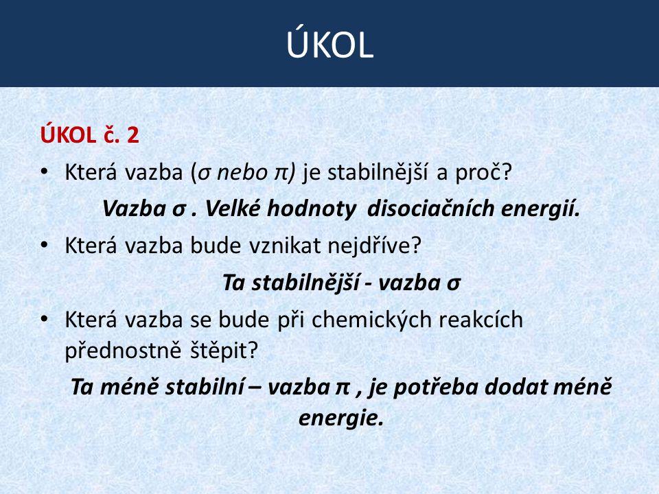 S TABILITA VAZEB ÚKOL č.2 Která vazba (σ nebo π) je stabilnější a proč.