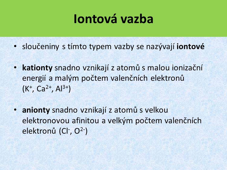 Iontová vazba sloučeniny s tímto typem vazby se nazývají iontové kationty snadno vznikají z atomů s malou ionizační energií a malým počtem valenčních elektronů (K +, Ca 2+, Al 3+ ) anionty snadno vznikají z atomů s velkou elektronovou afinitou a velkým počtem valenčních elektronů (Cl -, O 2- )