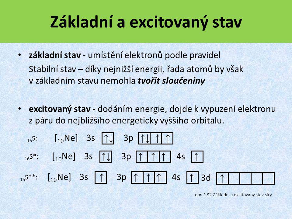 [ 10 Ne] 3p ↑↓ ↑ ↑ 3s ↑↓ 16S:16S: [ 10 Ne] 3p ↑ ↑ ↑ 3s ↑↓ 16 S*: 4s ↑ [ 10 Ne] 3p ↑ ↑ ↑ 3s ↑ 16 S**: 4s ↑ 3d ↑ Základní a excitovaný stav základní stav - umístění elektronů podle pravidel Stabilní stav – díky nejnižší energii, řada atomů by však v základním stavu nemohla tvořit sloučeniny excitovaný stav - dodáním energie, dojde k vypuzení elektronu z páru do nejbližšího energeticky vyššího orbitalu.