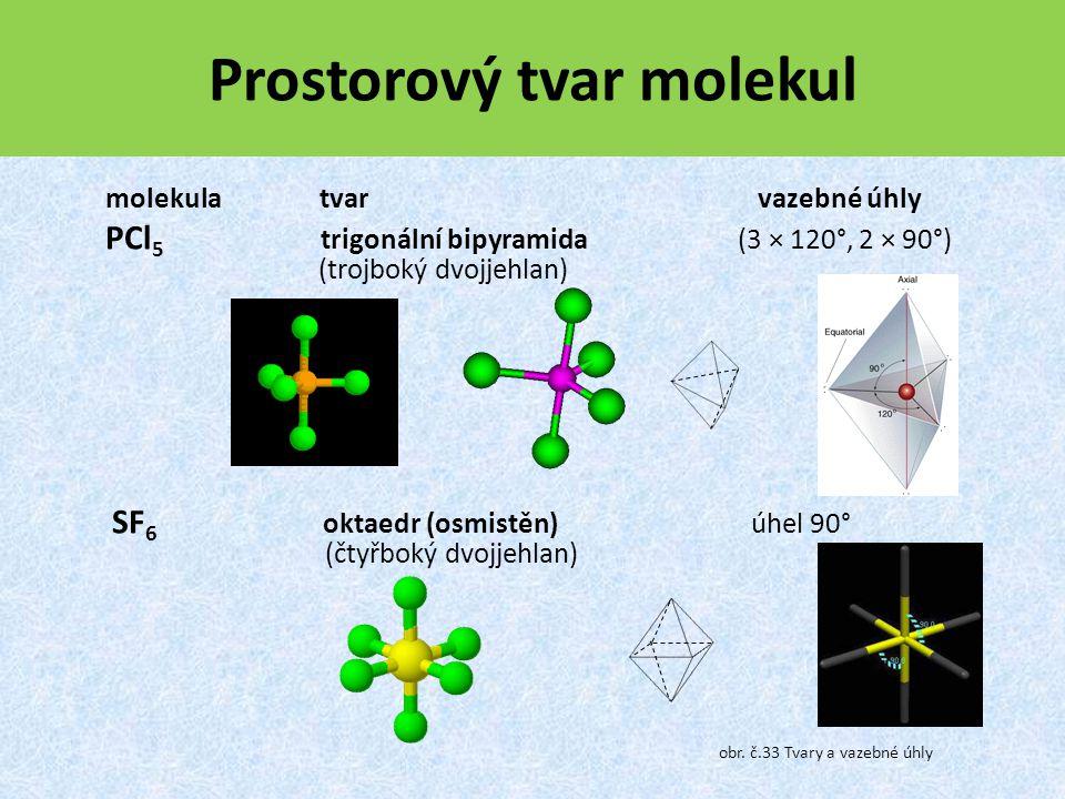Prostorový tvar molekul molekula tvar vazebné úhly PCl 5 trigonální bipyramida (3 × 120°, 2 × 90°) (trojboký dvojjehlan) SF 6 oktaedr (osmistěn) úhel 90° (čtyřboký dvojjehlan) obr.