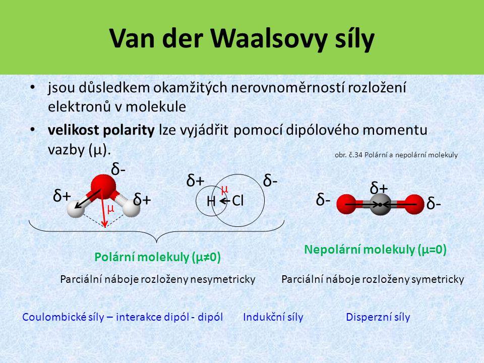 Van der Waalsovy síly jsou důsledkem okamžitých nerovnoměrností rozložení elektronů v molekule velikost polarity lze vyjádřit pomocí dipólového momentu vazby (μ).