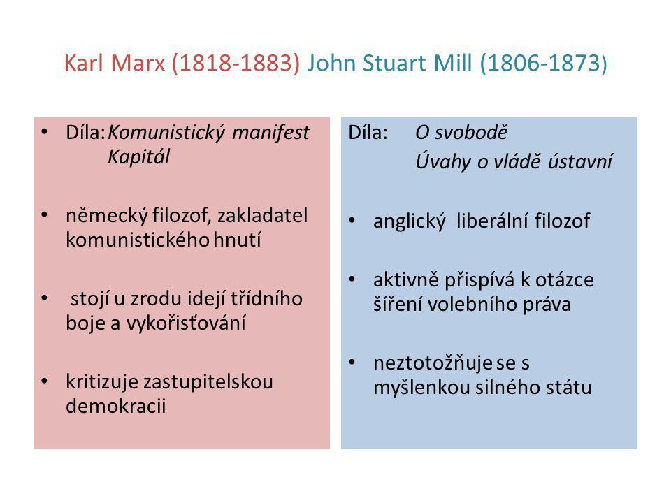 Karl Marx (1818-1883) John Stuart Mill (1806-1873 ) Díla:Komunistický manifest Kapitál německý filozof, zakladatel komunistického hnutí stojí u zrodu
