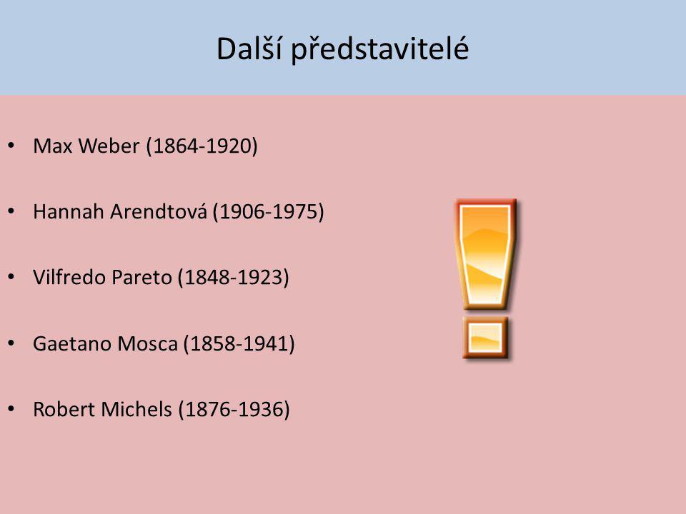 Další představitelé Max Weber (1864-1920) Hannah Arendtová (1906-1975) Vilfredo Pareto (1848-1923) Gaetano Mosca (1858-1941) Robert Michels (1876-1936