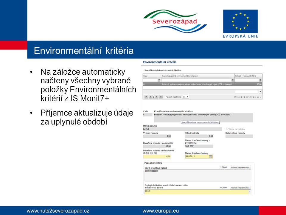 Environmentální kritéria Na záložce automaticky načteny všechny vybrané položky Environmentálních kritérií z IS Monit7+ Příjemce aktualizuje údaje za