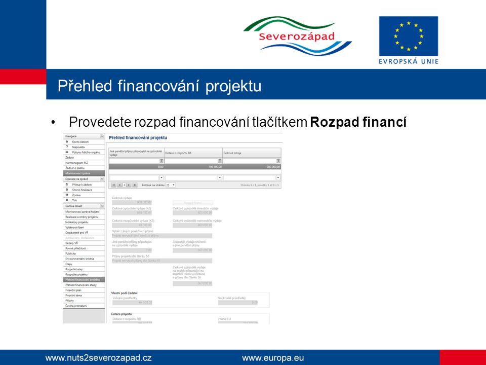 Přehled financování projektu Provedete rozpad financování tlačítkem Rozpad financí