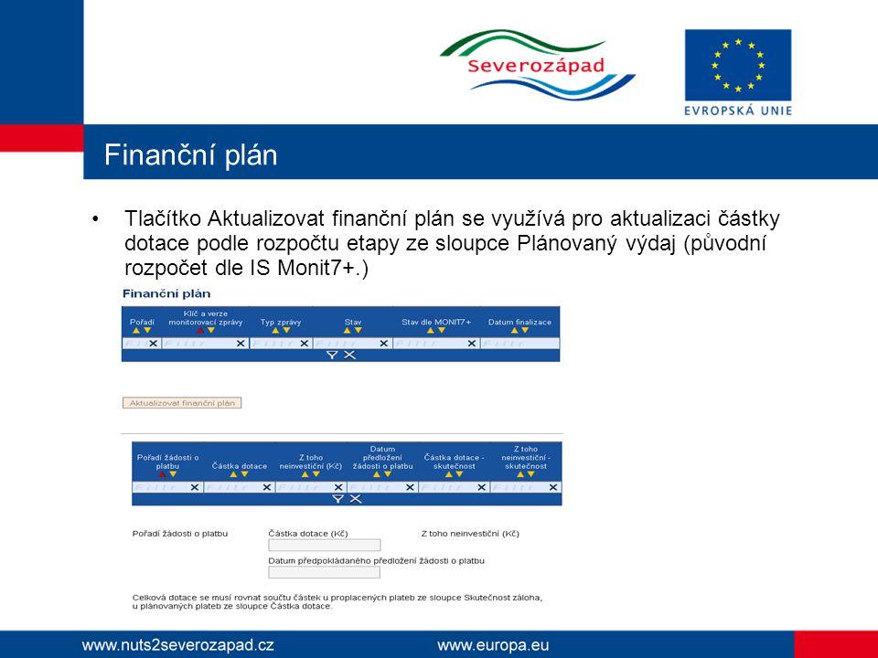 Finanční plán Tlačítko Aktualizovat finanční plán se využívá pro aktualizaci částky dotace podle rozpočtu etapy ze sloupce Plánovaný výdaj (původní ro