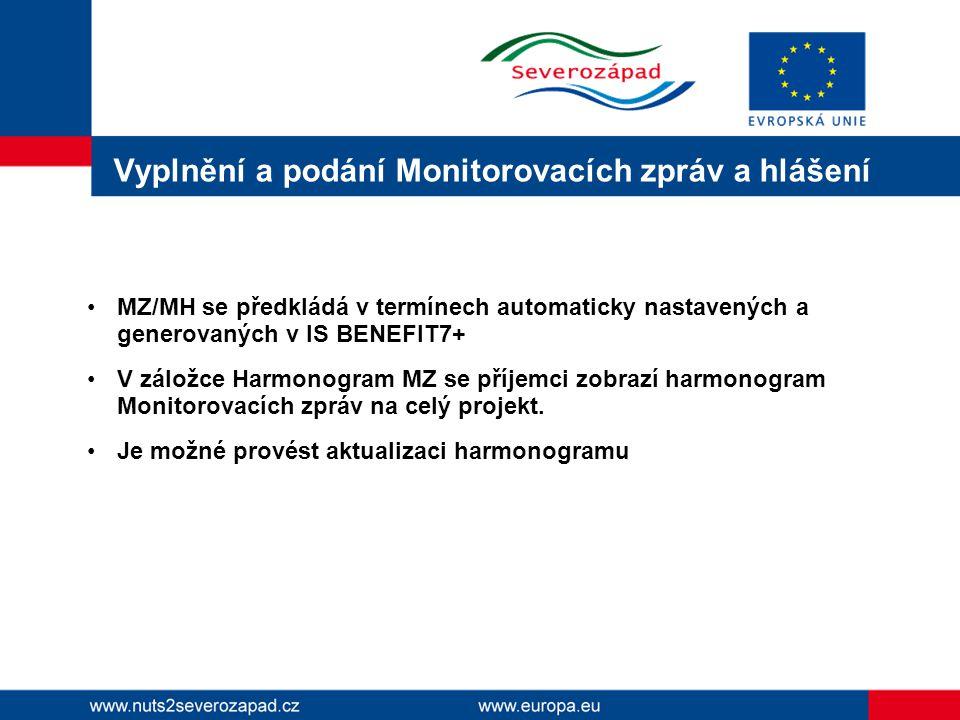 Vyplnění a podání Monitorovacích zpráv a hlášení MZ/MH se předkládá v termínech automaticky nastavených a generovaných v IS BENEFIT7+ V záložce Harmonogram MZ se příjemci zobrazí harmonogram Monitorovacích zpráv na celý projekt.