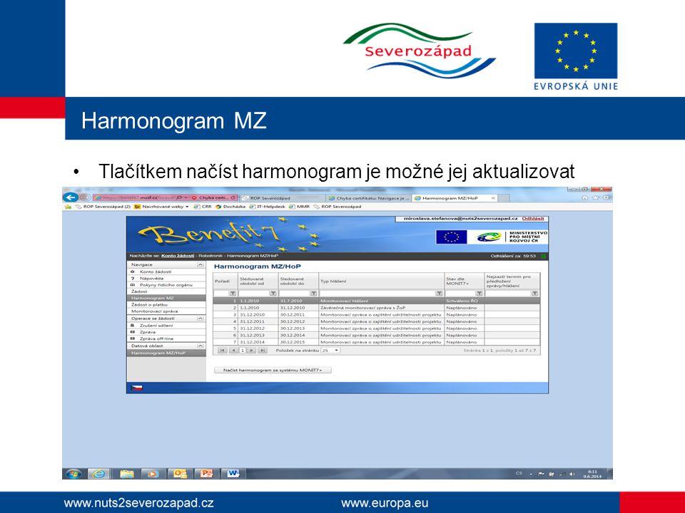 Harmonogram MZ Tlačítkem načíst harmonogram je možné jej aktualizovat