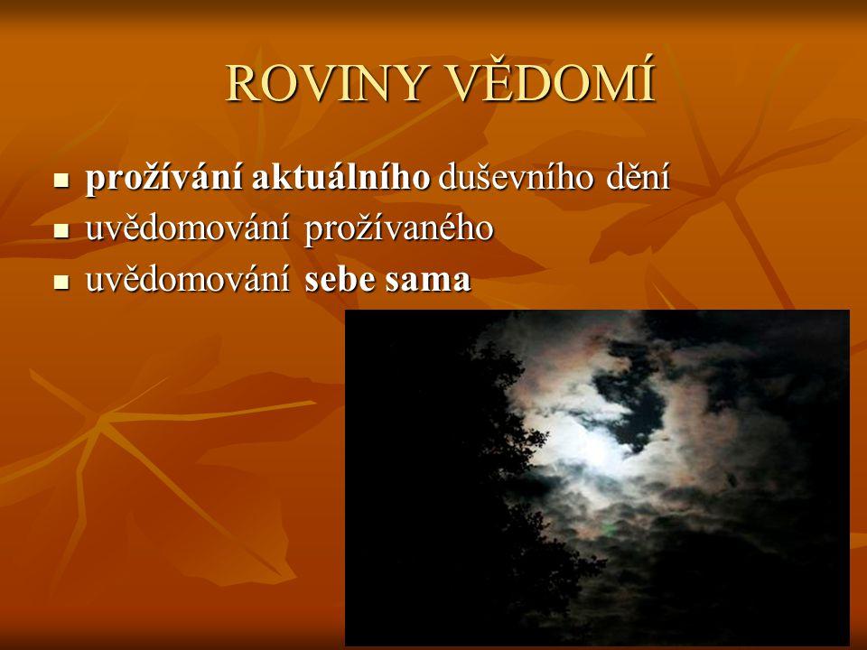 ROVINY VĚDOMÍ ROVINY VĚDOMÍ prožívání aktuálního duševního dění prožívání aktuálního duševního dění uvědomování prožívaného uvědomování prožívaného uv