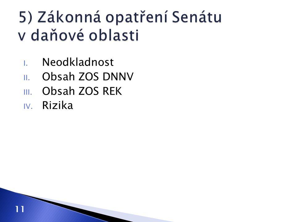 I. Neodkladnost II. Obsah ZOS DNNV III. Obsah ZOS REK IV. Rizika 11